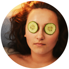 cucumber slices over eyes