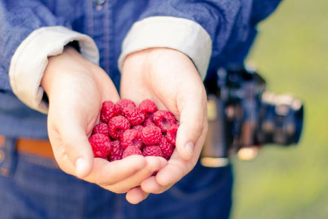 woman holding raspberries in hand