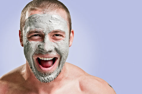 laughing man with face mask