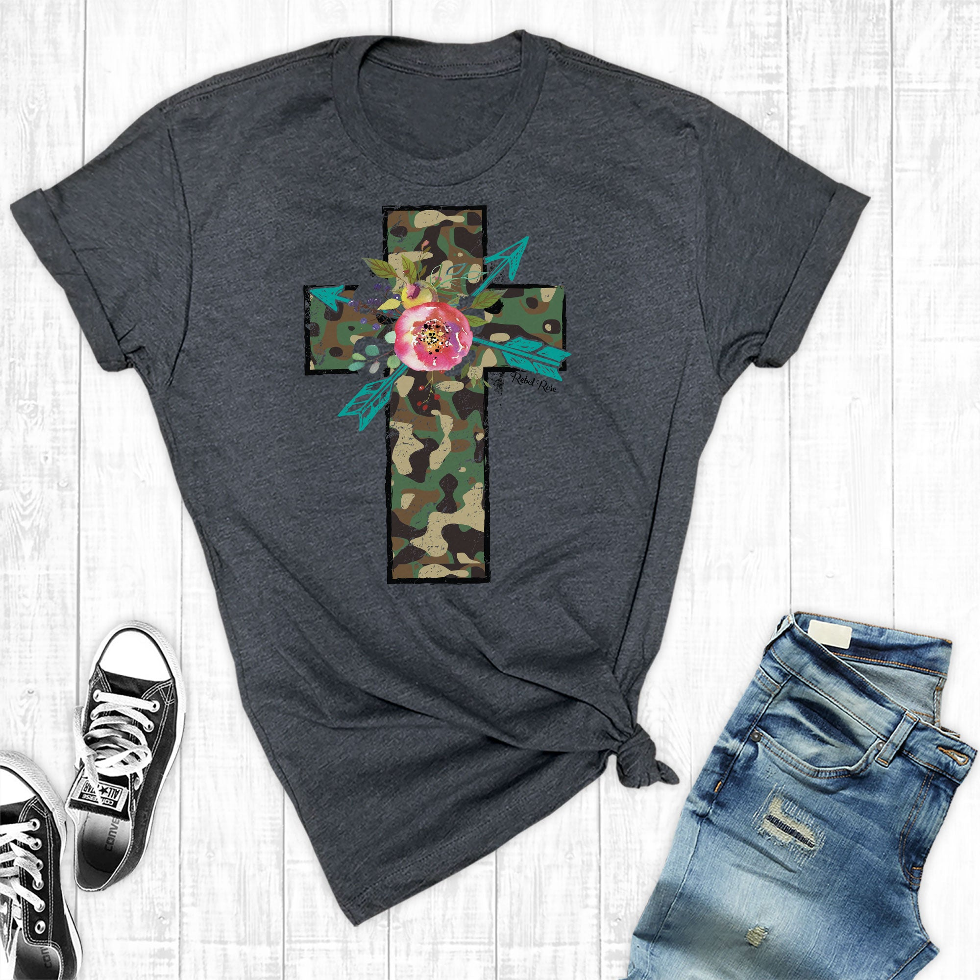 Camo Cross with Floral