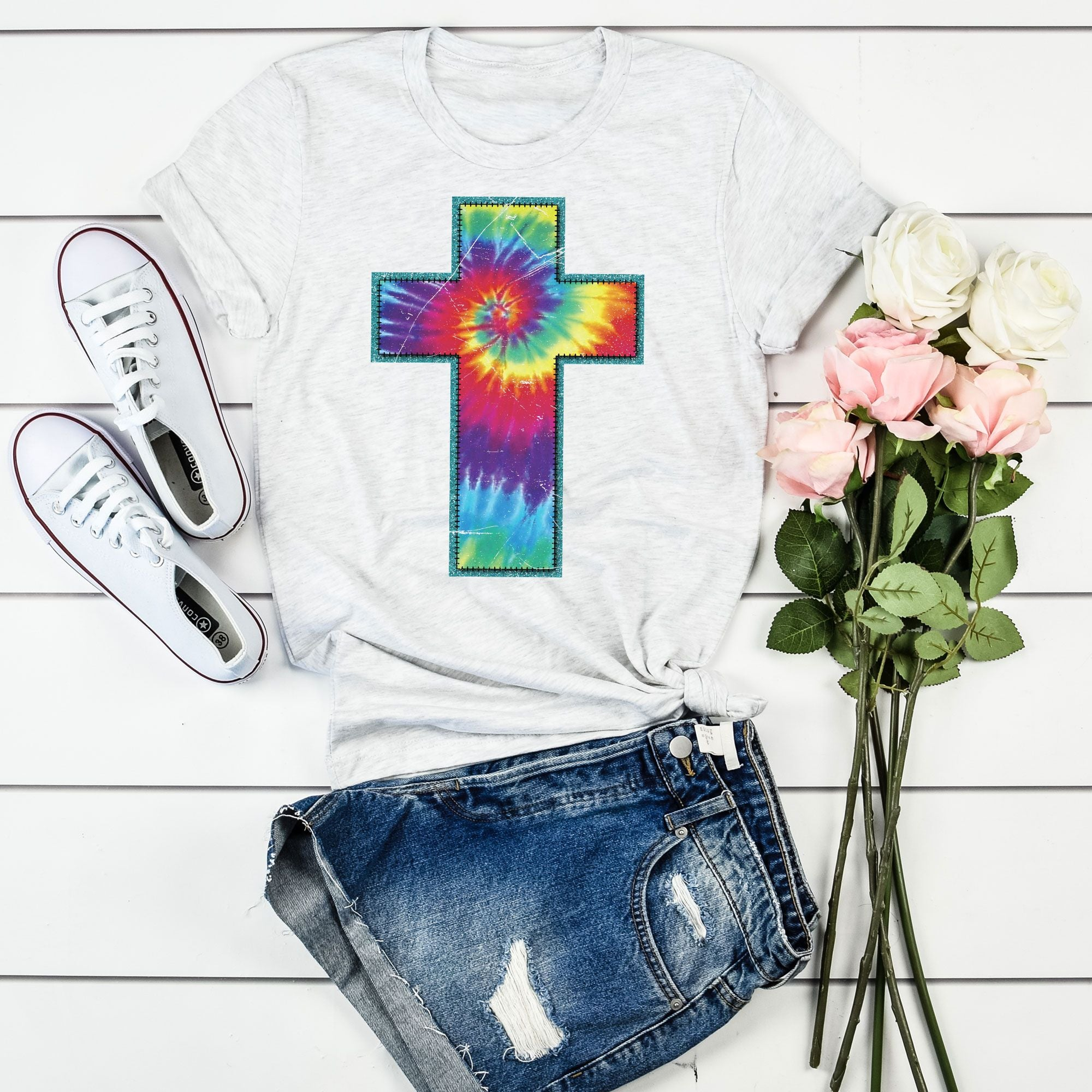 Tie Dye Cross on Ash Grey