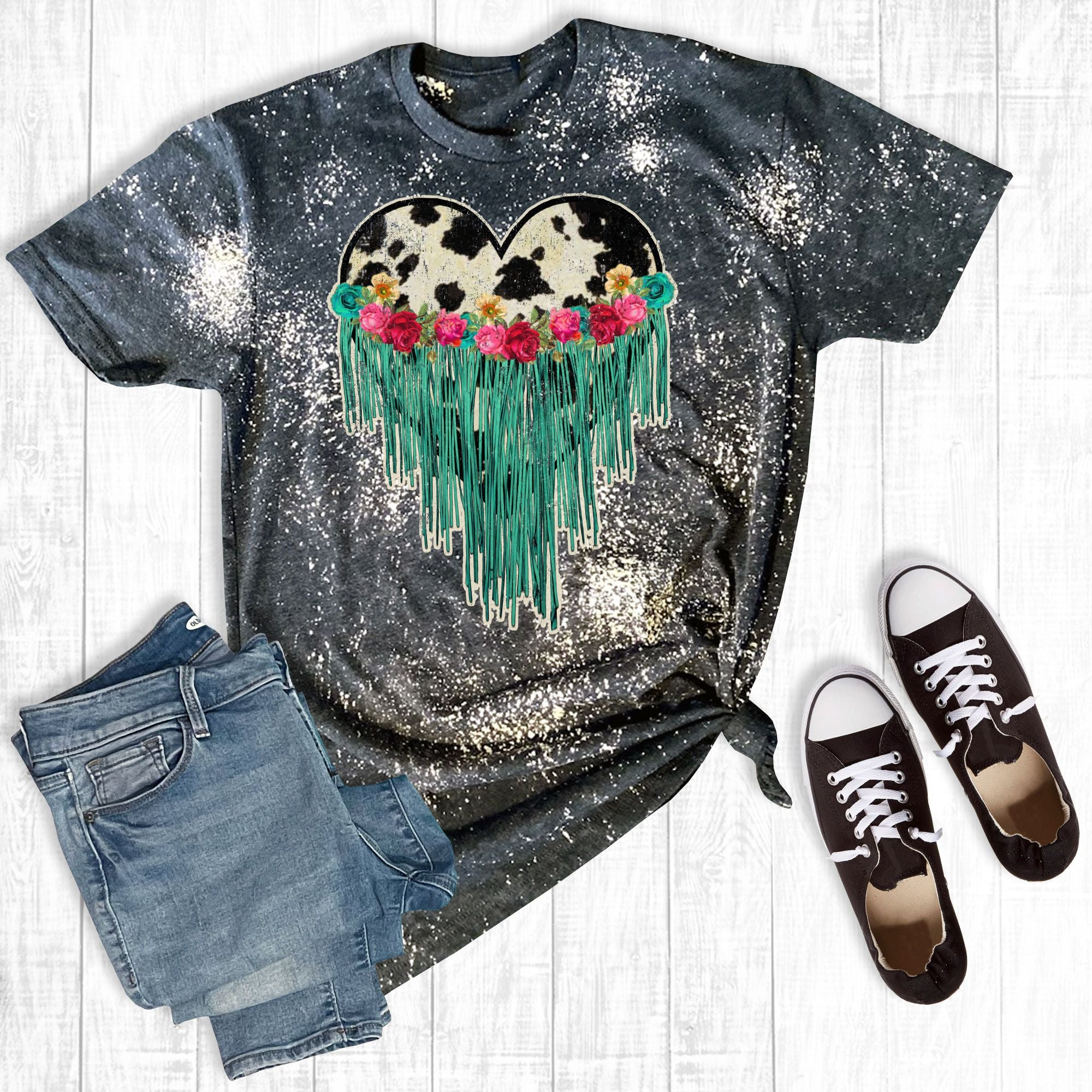 Distressed Fringe Heart