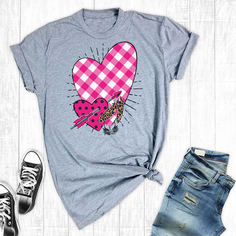 Hot pink plaid heart