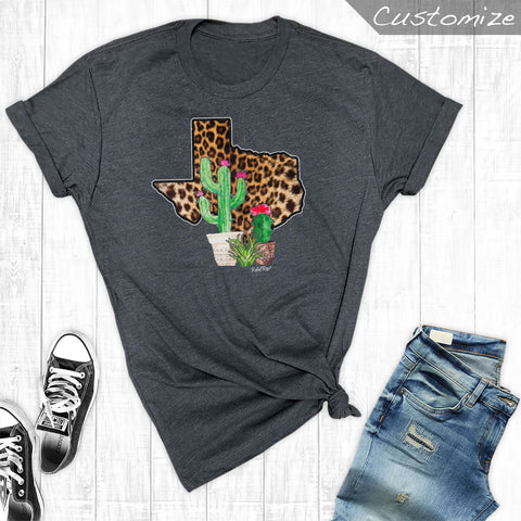 Leopard Texas with Cactus