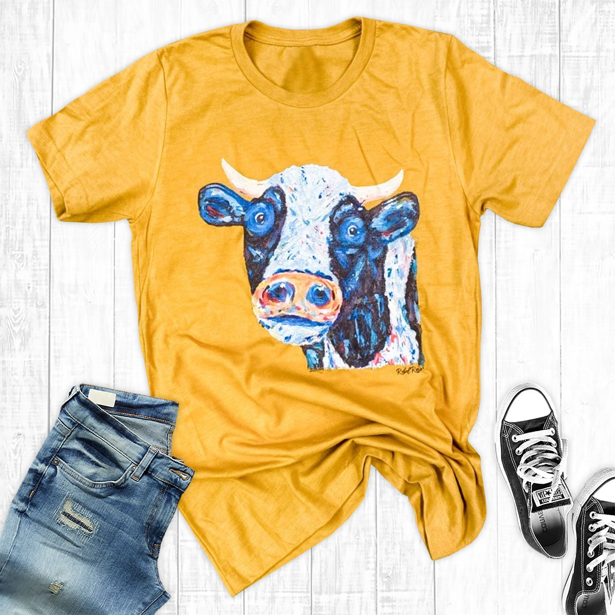 Mustard Painted Cow