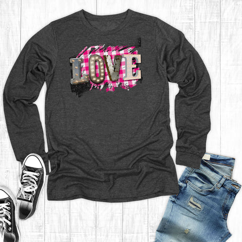 Pink Plaid Love Long Sleeve