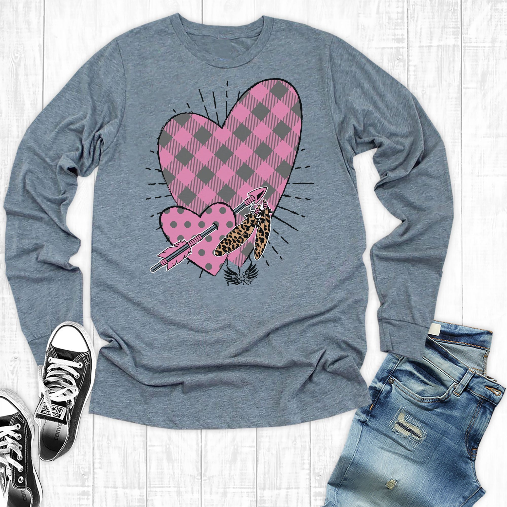 Hot Pink Plaid Heart Long sleeve