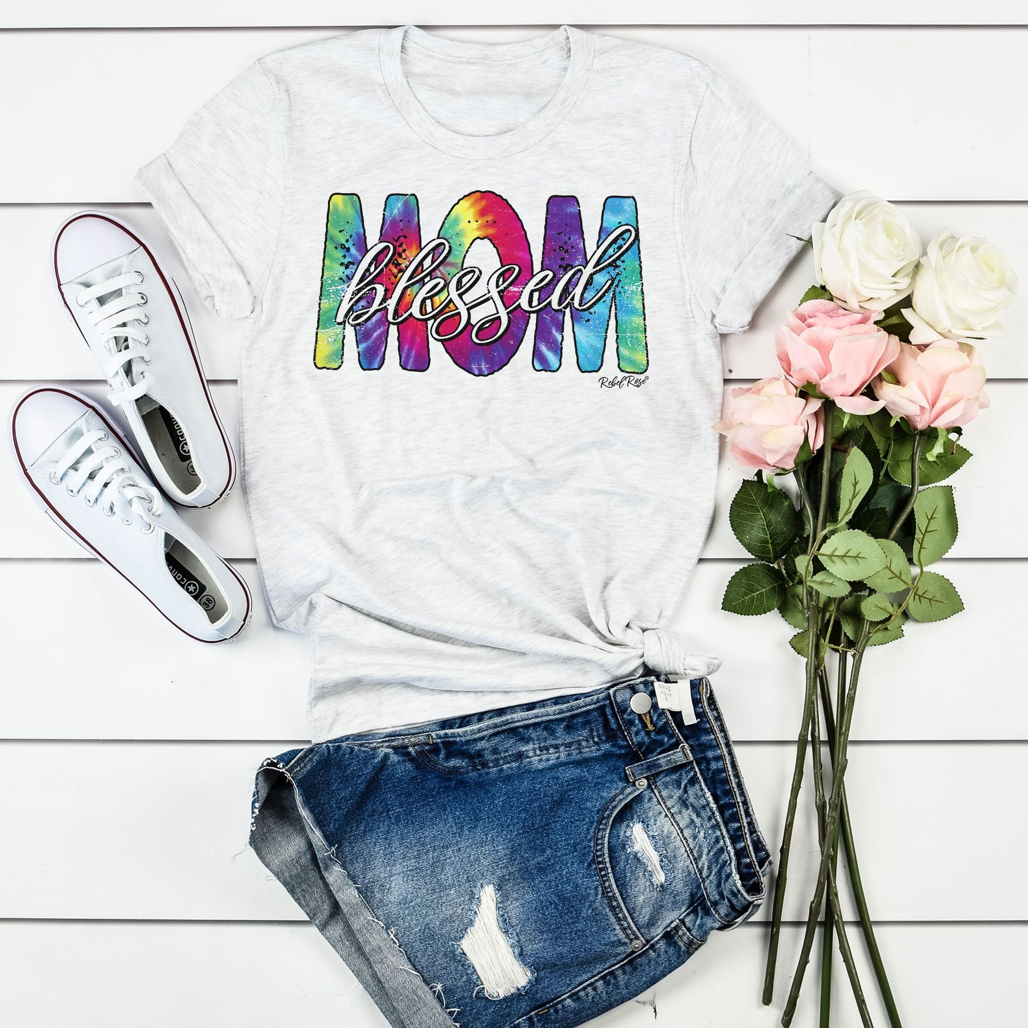 Tie Dye Blessed Mom on Ash Grey