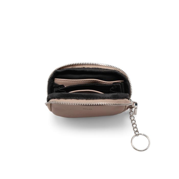 Vegan coin purse. Grey coin purse. Coin purse with keyring.