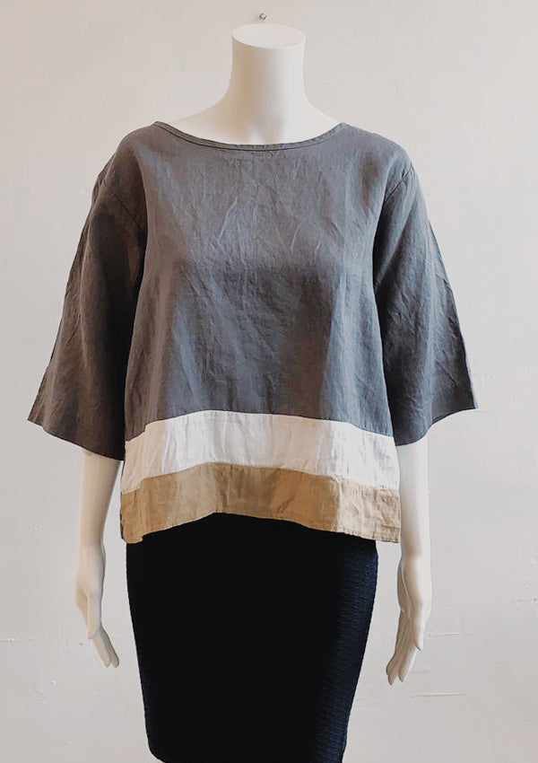 Aria -linen colorblock pop top