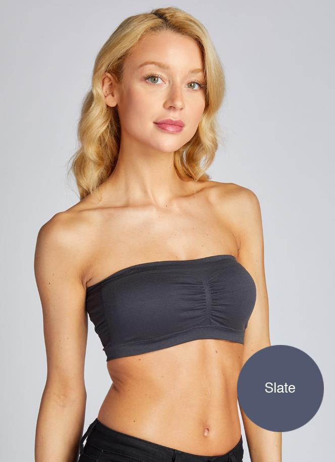 Ruched Bandeau With Removable Straps & Pads