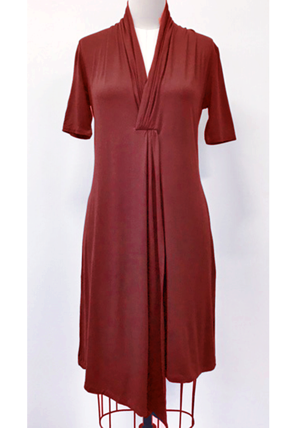 Dress with draped front and short sleeve