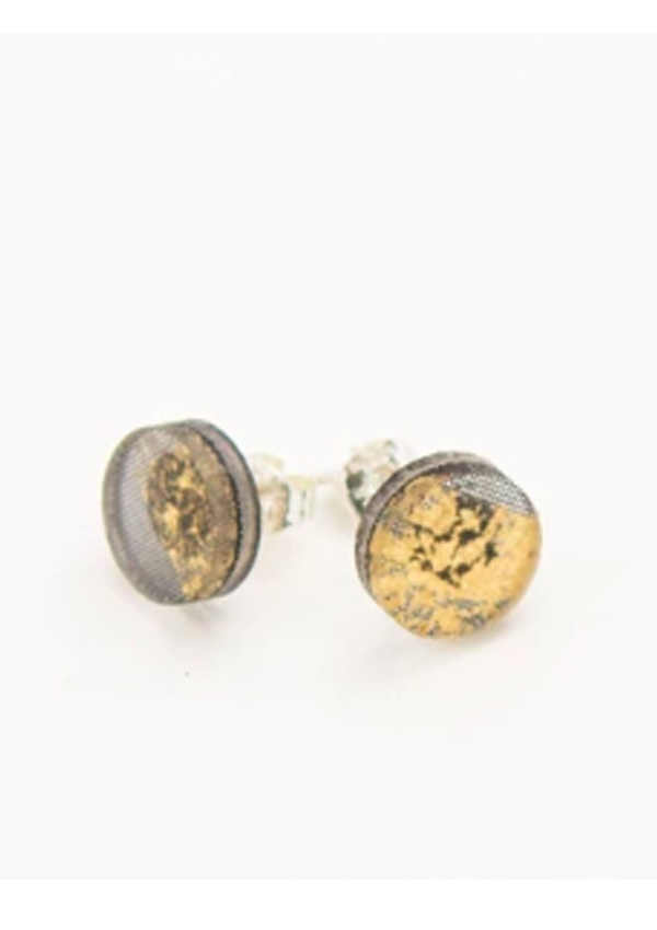 Gilded Gold Earrings - Stud- Circle