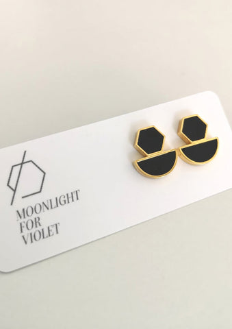 Hexagon Half-Moon Double Stud