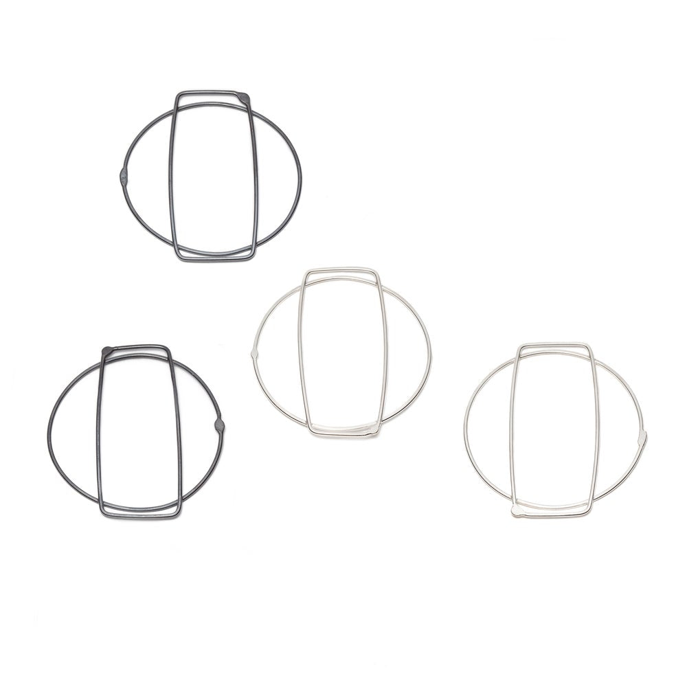 Large Earrings Rectangle in Circle