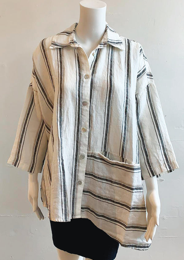 Jasmine - linen stripe shirt jacket