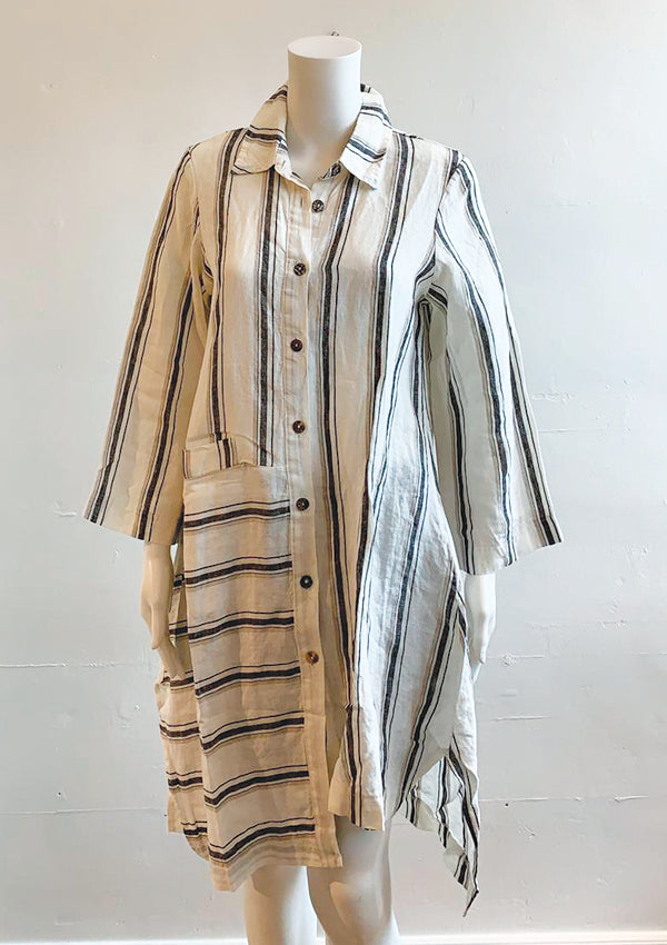 Jasmine - linen stripe shirt dress