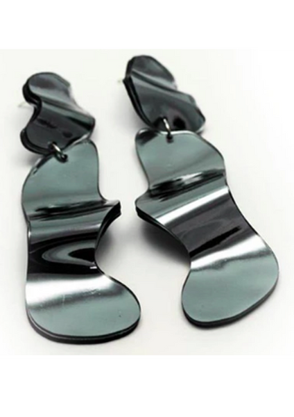 Reflect Silver Earrings - Wave Long