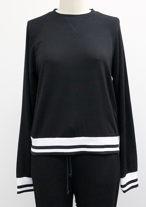 Sweatshirt, reglan slv w/striped rib