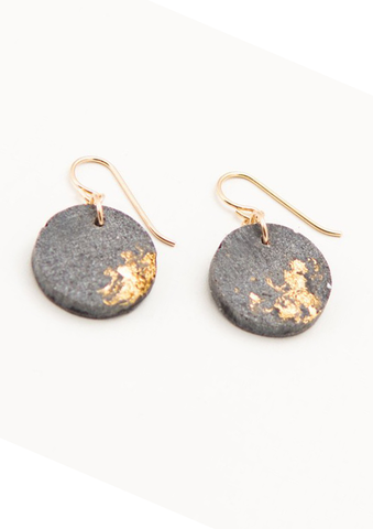 Concrete Fractured Circle Earrings