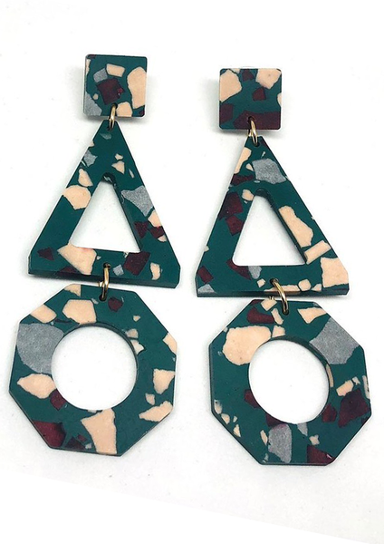 Concrete Jesmonite Trio Earring