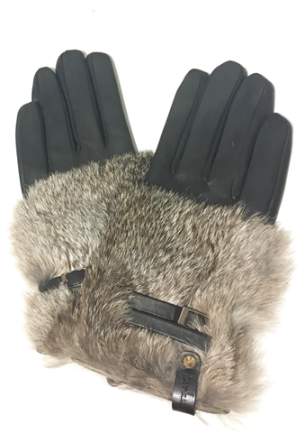 Leather Glove w/ Fur & Buckle