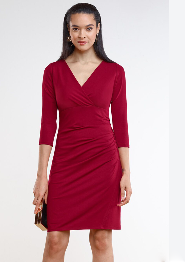 Harlow Ruched Cross Front Dress