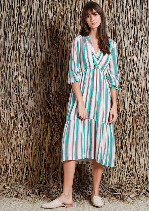 Stripe V Two Tier Dress
