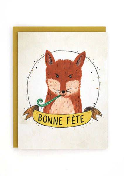 French Happy Birthday Fox Card