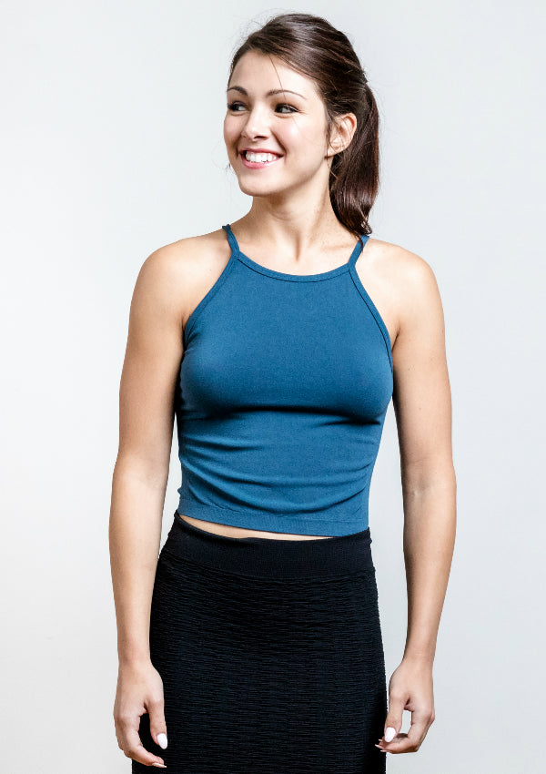 Bamboo High Neck Crop Top