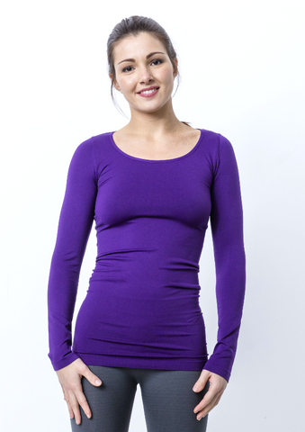 Seamless Nylon Scoop Neck Long Sleeve