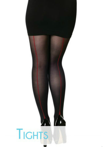 Opaque Tights with Red Back Stripe