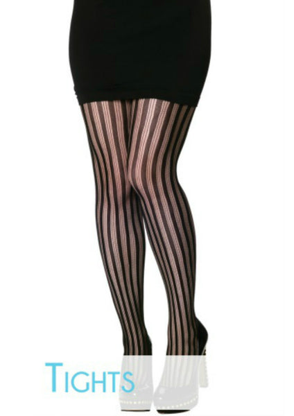 Striped Fishnet Tights