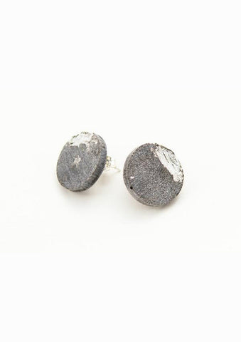 Concrete Silver Fractured Circle Earrings