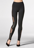 Tactel Legging w/ Mesh & Faux Leather Insert