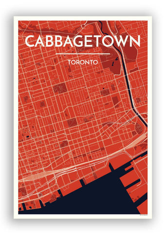 Cabbagetown Red Map Print