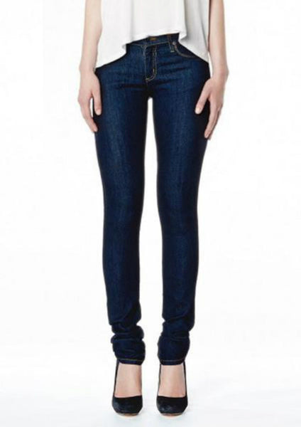 High Rise Skinny Indigo with Gold Stitching