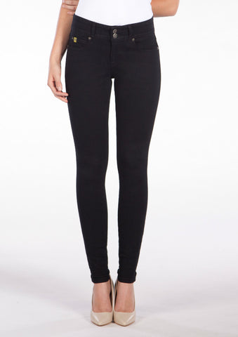 Double Button High Rise Skinny Black