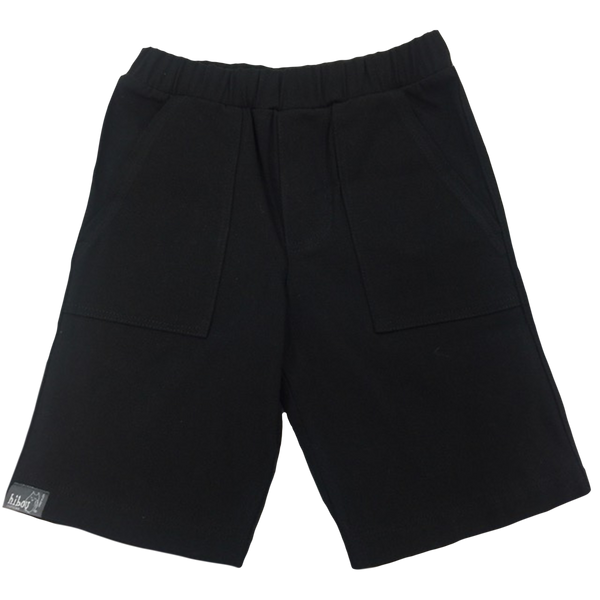 Boys Shorts in Black Twill - Hibou Clothing