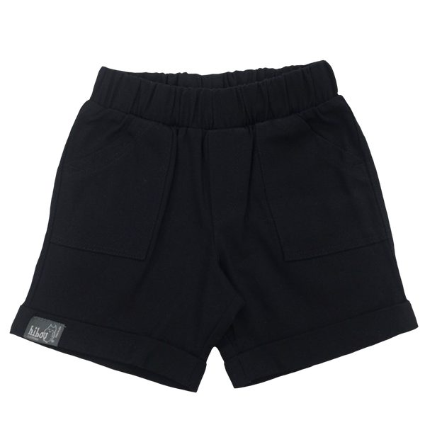 Infant  Bermuda Shorts in Black Twill - Hibou Clothing