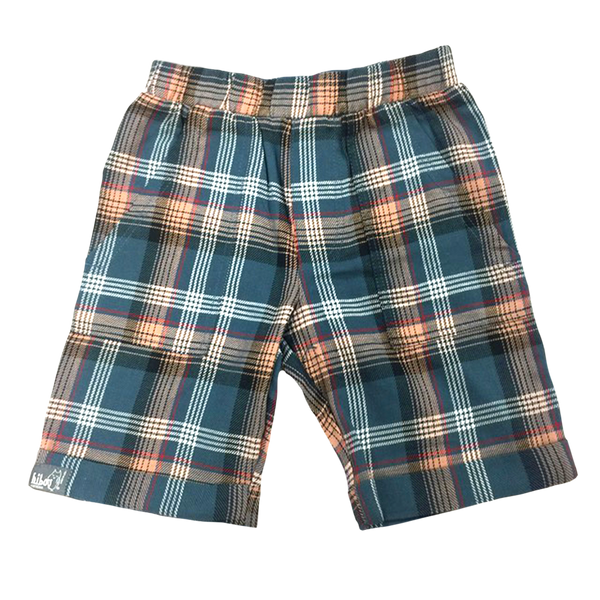 Front View Plaid Bermuda Shorts; Functional pockets; pull on elastic waist; Infant, Toddler, Little Boys