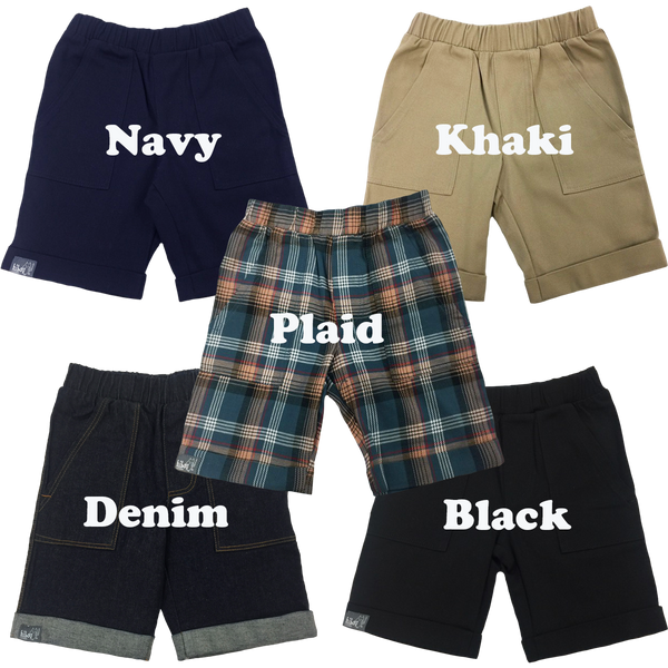 Bermuda Shorts available Denim, Navy Twill, Khaki Twill, Black Twill and Plaid; Infants, Toddler, Little Boys