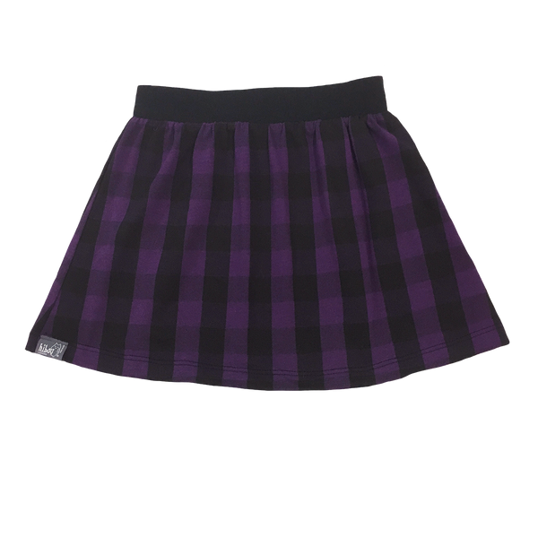 Black & Purple Plaid Skirt - Hibou Clothing