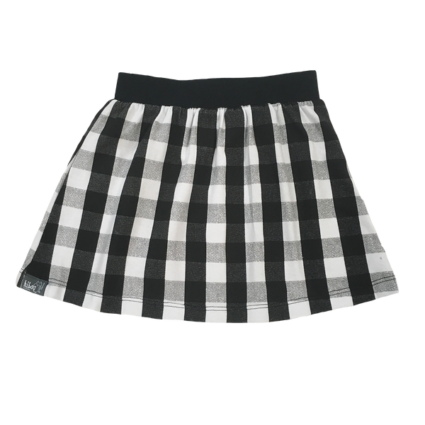 Black & White Plaid Skirt - Hibou Clothing