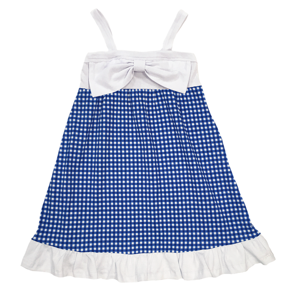 Gingham Dress Blue - Hibou Clothing