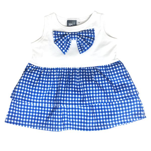 Gingham Bow Tank Blue; Tiered Ruffle Bottom; Infant, Toddler, Little Girls