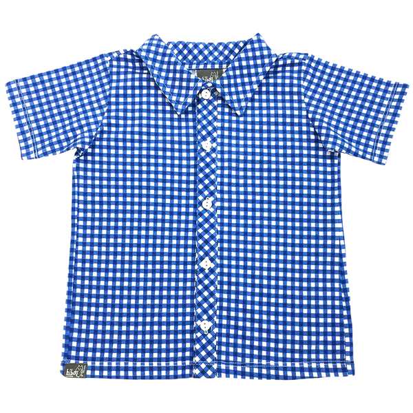 Blue Gingham Party Shirt - Hibou Clothing