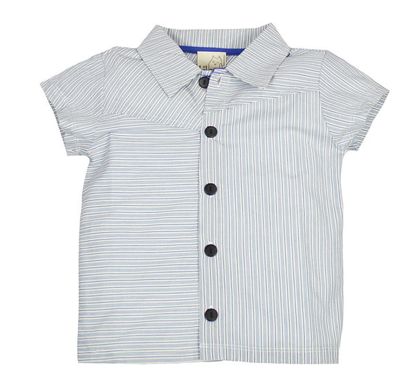 Blue Pin Stripe Button Down; White and Blue; Toddler, Little Boy
