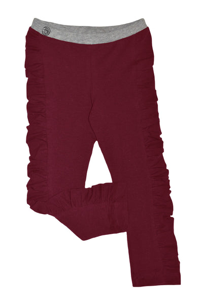 Burgundy Ruched Legging - Hibou Clothing
