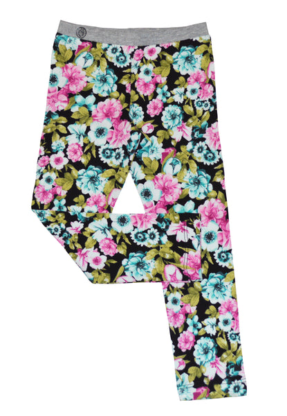 Pink and Teal Flower Printed Legging - Hibou Clothing